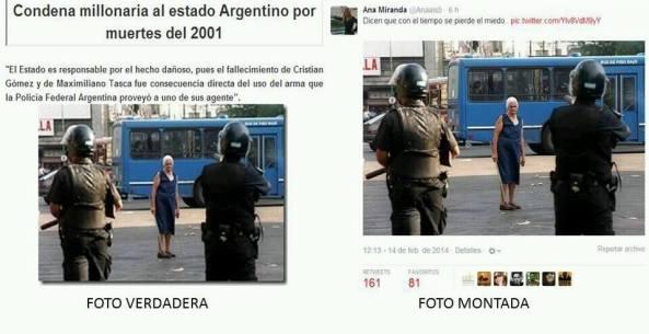 Αριστερά: από διαδήλωση στην Αργεντινή Δεξιά: Από τα επεισόδια στην Βενεζουέλα  Για την super γιαγιά με το στυλιάρι αυτές οι αποστάσεις είναι αστεία υπόθεση. — στην τοποθεσία Σίγουρα όχι στην Βενεζουέλα.