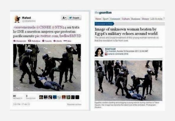 Δεξιά : Τον Δεκέμβριο του 2011 στην Αίγυπτο. Αριστερά : Tώρα και στην Βενεζουέλα!  Μια και την είχαμε να μην πάει χαμένη. — στην τοποθεσία Σίγουρα όχι στην Βενεζουέλα.