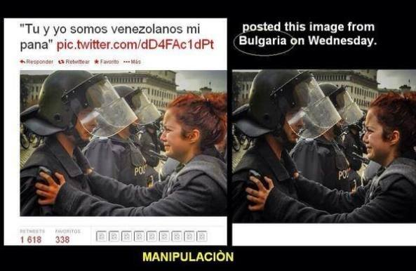 """Αριστερά : """"Εσύ κι εγώ είμαστε Bενεζουελανοί, αγόρι μου"""".  Δεξιά : """"Εσύ κι εγώ είμαστε Βούλγαροι, αγόρι μου — στην τοποθεσία Σίγουρα όχι στην Βενεζουέλα."""