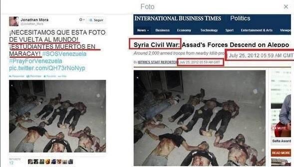 Δεξιά : Φωτογραφία-μαϊμού καταγγέλλει τις βαρβαρότητες του συριακού στρατού  Αριστερά : Βενεζουέλα!!!! Έέέέέλα!!!!!! — στην τοποθεσία Σίγουρα όχι στην Βενεζουέλα.