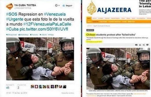 Αριστερά: 12/2/2014 στο twitter. Βενεζουέλα κτυπούν διαδηλωτή. Δεξιά : Στο ΑλΤζαζήρα επιμένουν ότι προέρχεται από παλιότερη φοιτητική διαδήλωση στην Χιλή. — στην τοποθεσία Σίγουρα όχι στην Βενεζουέλα.