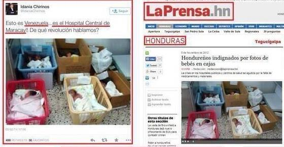 Αριστερά: Σήμερα παραπεταμένα παιδιά στο κεντρικό Νοσοκομείο του Μαρακάυ της Βενεζουέλας. αυτή είναι η Βενεζουέλα!!! Για ποια επανάσταση μιλάμε; Δεξιά: Τι;;; Η ίδια φωτογραφία στις Ονδόυρες τον Νοέμβριο του 2012. Ε δεν το πιστεύω!!!!! — στην τοποθεσία Σίγουρα όχι στην Βενεζουέλα.