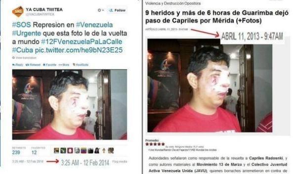 Αριστερά : 12/02/2014 στο twitter. Xτυπημένος από τον αριστερό Νικόλα Μαδούρο.  Δεξιά : πριν 10 μήνες ακριβώς, ο ίδιος άνθρωπος είχε πάθει ακριβώς τα ίδια.!!! — στην τοποθεσία Σίγουρα όχι στην Βενεζουέλα.