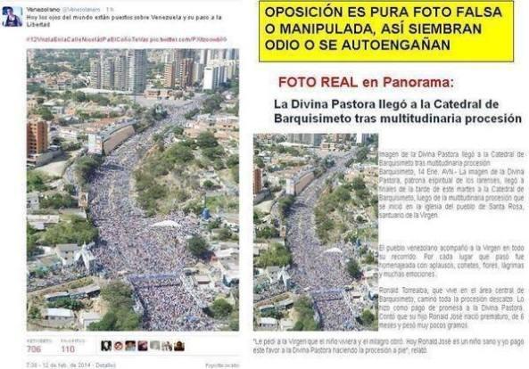 """Αριστερά: Ογκωδέστατη """"αντικυβερνητική διαδήλωση"""" στην Βενεζουέλα.  Δεξιά: Ογκωδέστατη λιτανεία!  Τι λες καλή μου?!!! — στην τοποθεσία Σίγουρα όχι στην Βενεζουέλα."""