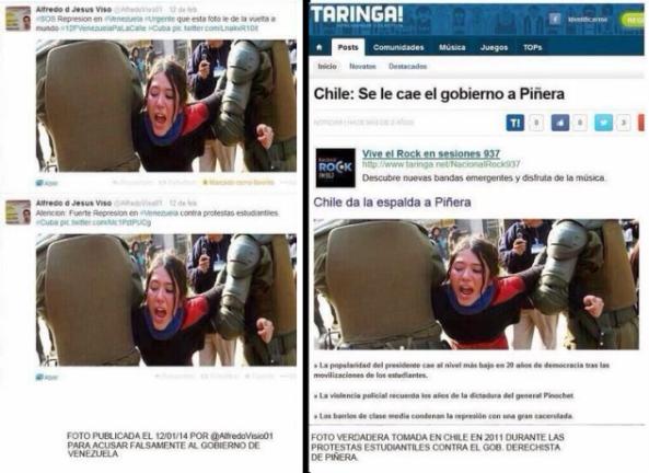 Δεξιά : Βία της αστυνομίας της Χιλής πριν χρόνια Αριστερά : Η ίδια φωτογραφία κυκλοφορεί  σήμερα ότι τάχα είναι από Βενεζουέλα.
